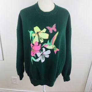 Vintage 90s crewneck sweatshirt neon graphic XL